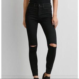 American Eagle black slit skinny Jean jeggings